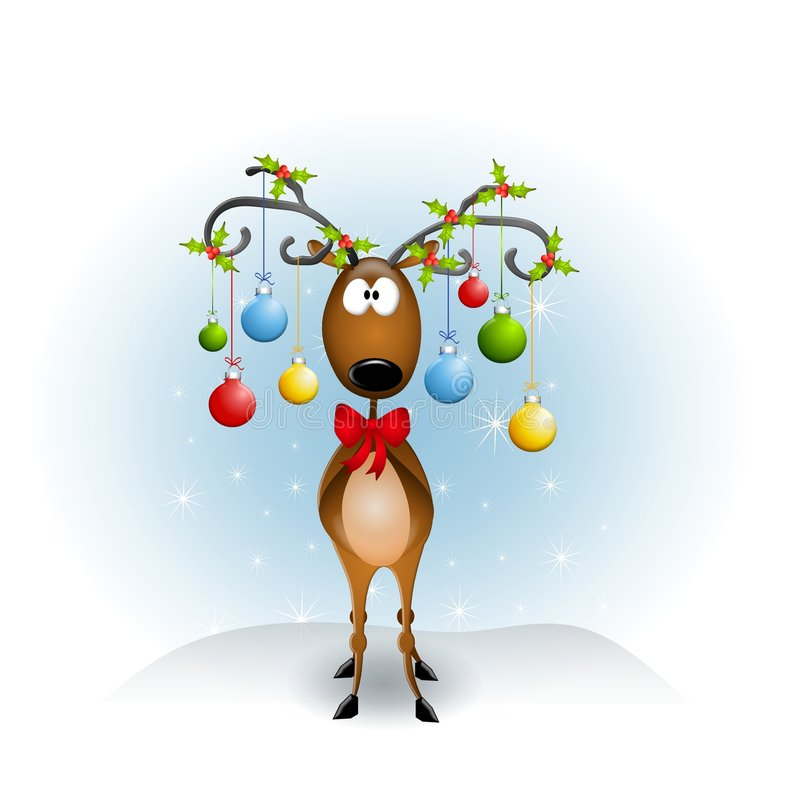 Free Cartoon Reindeer Ornaments Royalty Free Stock Images - 5982519