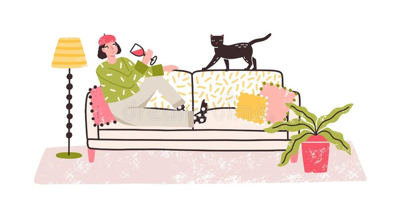 Cartoon Relaxed Woman Drinking Wine Alone Lying On Couch At Home Vector Flat Illustration Cheerful Emancipation Stock Vector Illustration Of Apartment Drink 179950626
