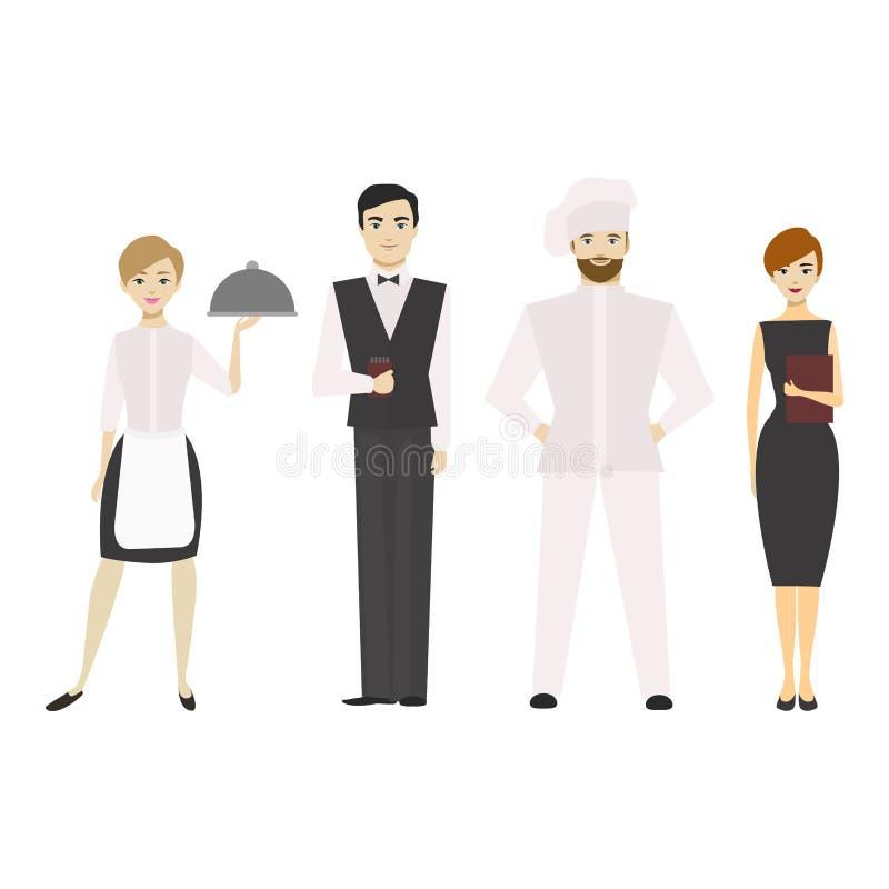 Cartoon Restaurant Staff Man and Woman. Vector vector illustration