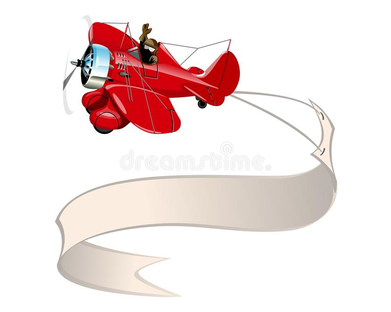 Cartoon retro airplane with banner vector illustration