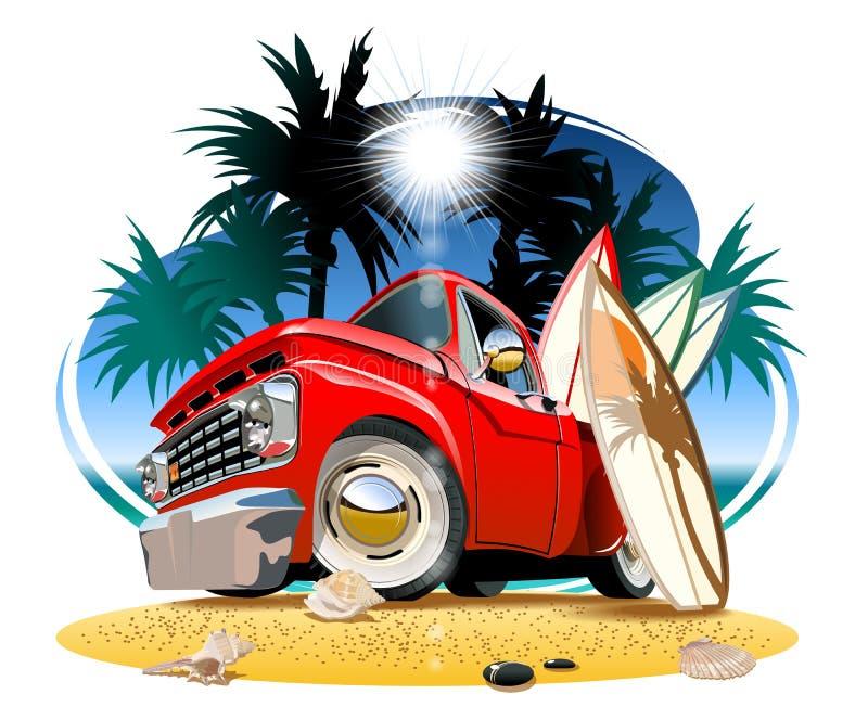 Cartoon retro camper pickup vector illustration