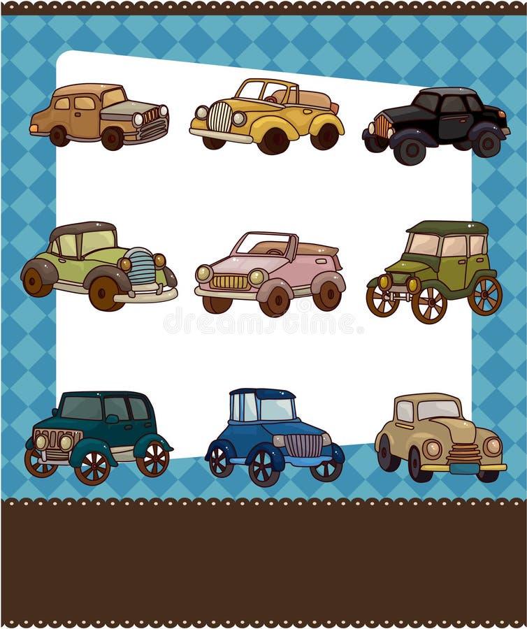 Cartoon Retro Car Card Stock Photos