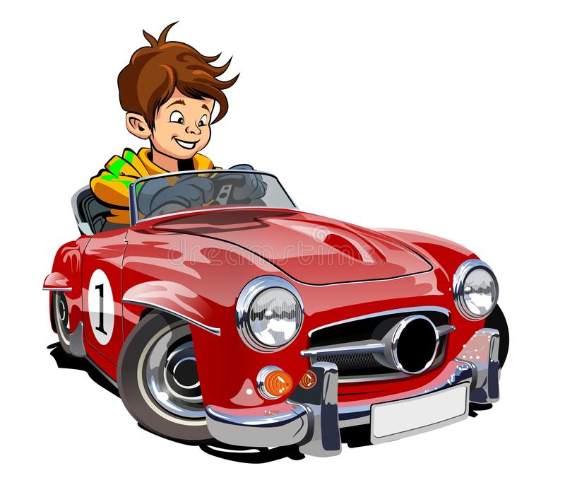 Cartoon retro car with driver. Vector Cartoon retro sport car with kid driver isolated on white. Available EPS-10 separated by groups and layers with vector illustration