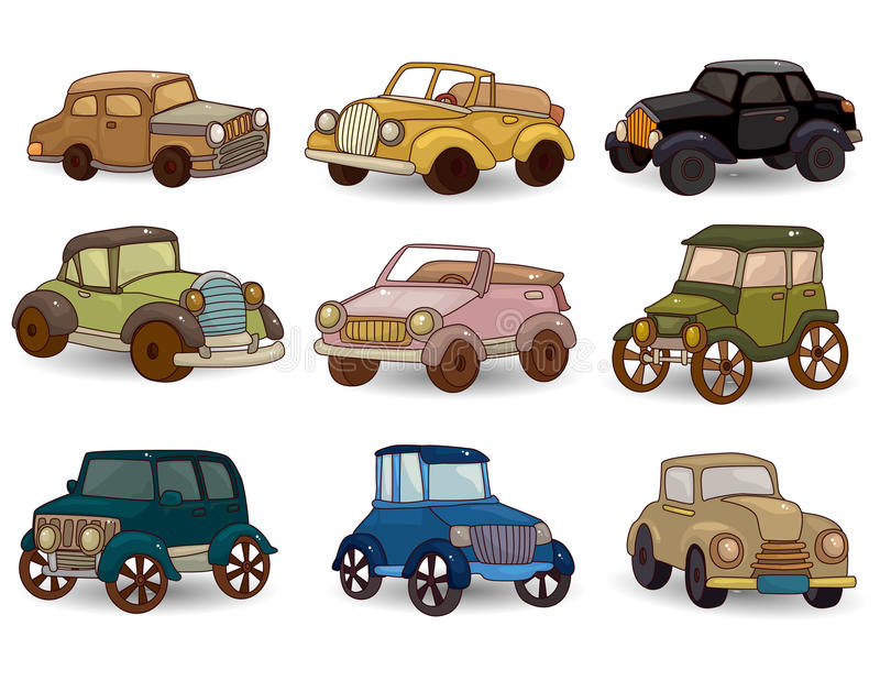 Cartoon retro car icon set. Vector drawing vector illustration
