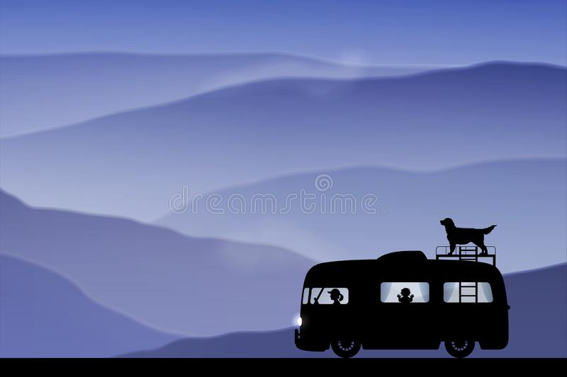 Cartoon retro car on road at dusk stock illustration