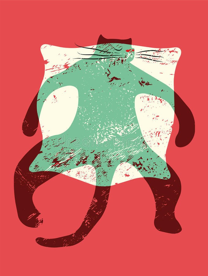 Cartoon retro funny cat on the pillow. Vector grunge illustration. vector illustration
