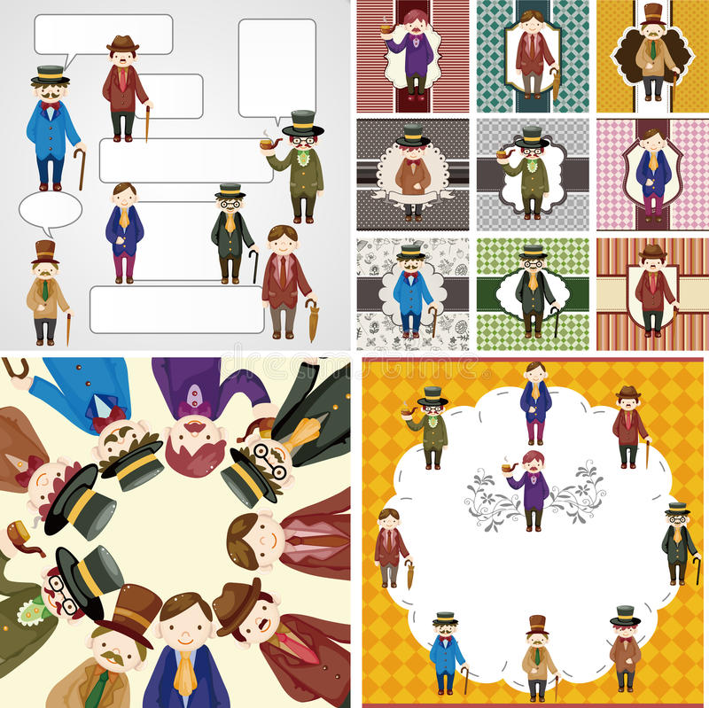 Cartoon Retro Gentleman Card Collection Royalty Free Stock Images