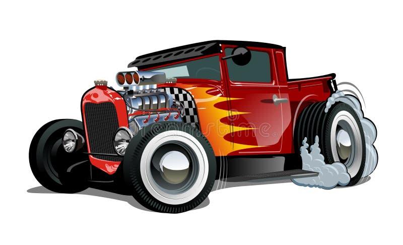 Cartoon retro hot rod isolated on white background vector illustration