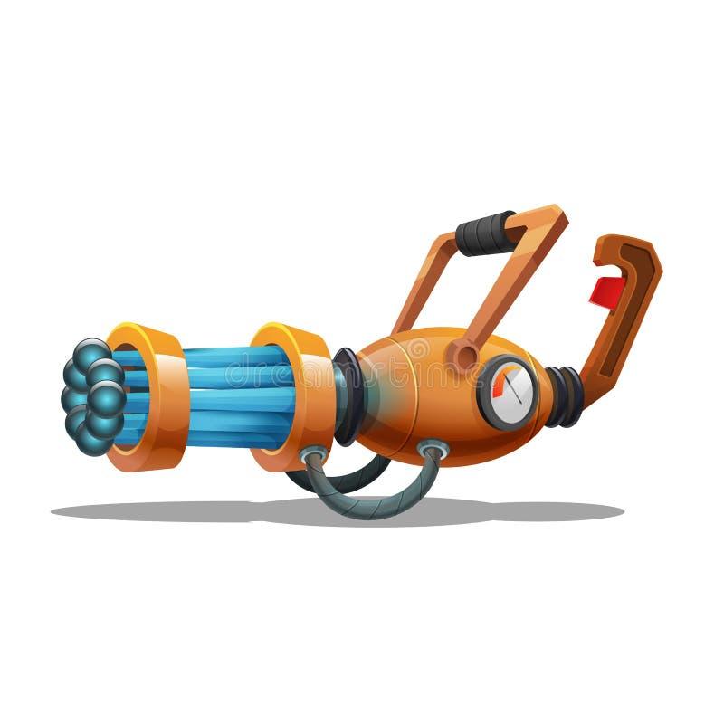 Cartoon retro space blaster, ray gun, laser weapon. Vector illustration stock illustration