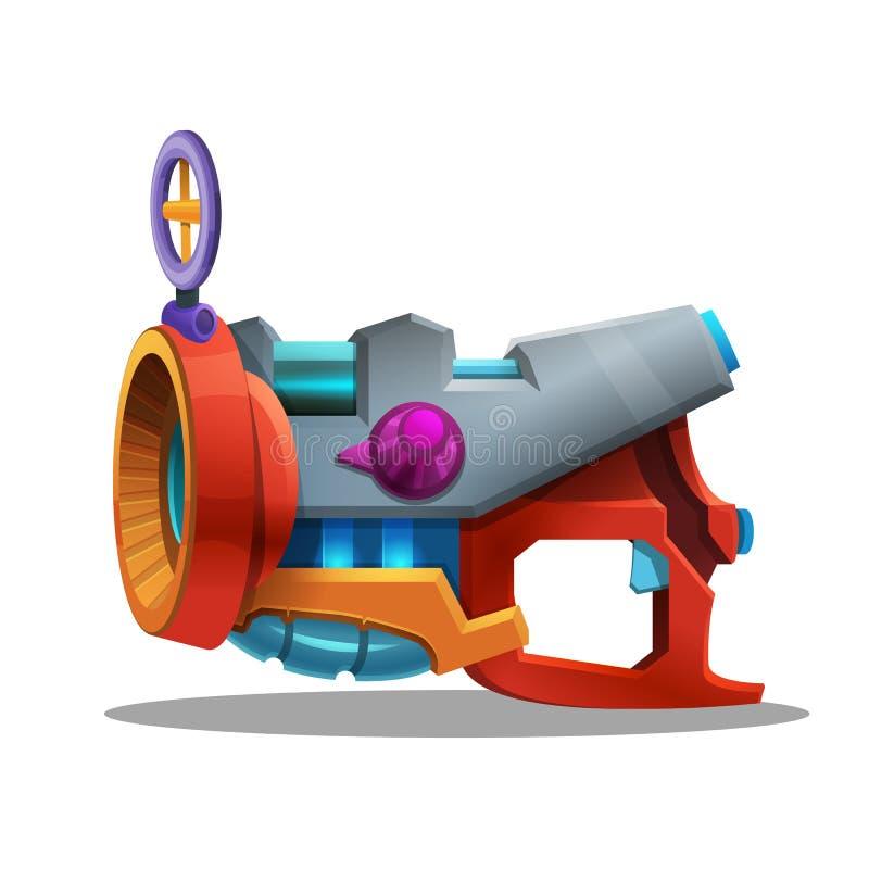 Cartoon retro space blaster, ray gun, laser weapon. Vector illustration royalty free illustration