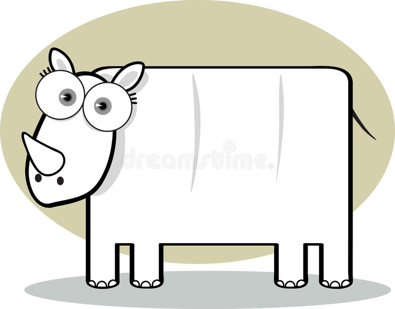 Cartoon Rhino in Black and White royalty free illustration
