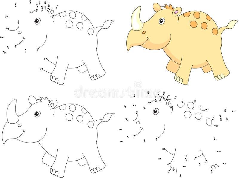 Cartoon Rhino And Rocket. Alphabet Tracing Worksheet