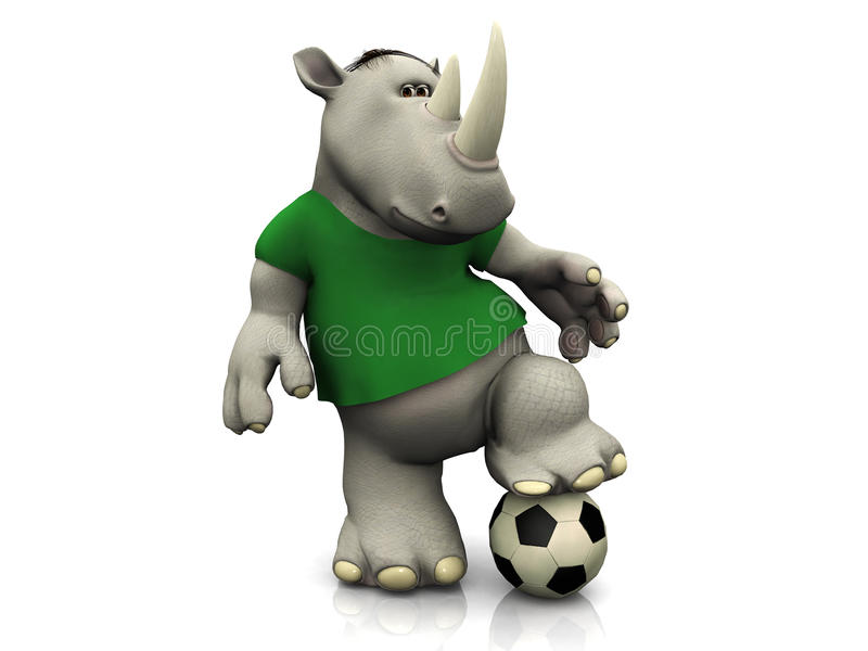 Cartoon rhino posing with soccer ball. Cartoon rhino posing with a soocer ball on white background royalty free illustration