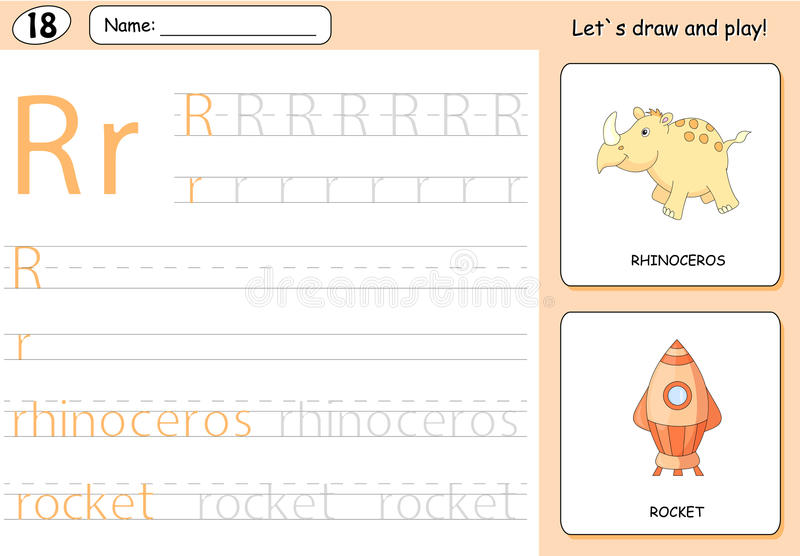 Cartoon rhinoceros and rocket. Alphabet tracing worksheet. Writing A-Z, coloring book and educational game for kids royalty free illustration