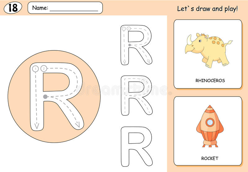 Cartoon rhinoceros and rocket. Alphabet tracing worksheet. Writing A-Z, coloring book and educational game for kids stock illustration
