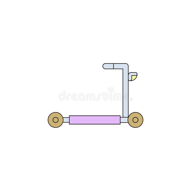 Cartoon ride scooter toy colored icon. Signs and symbols can be used for web, logo, mobile app, UI, UX vector illustration