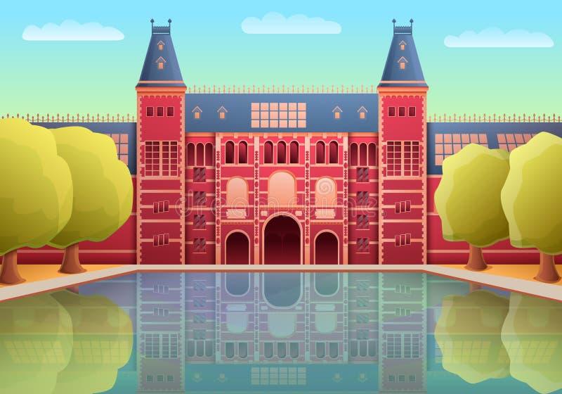Cartoon rijksmuseum landmark of amsterdam. Vector illustration vector illustration