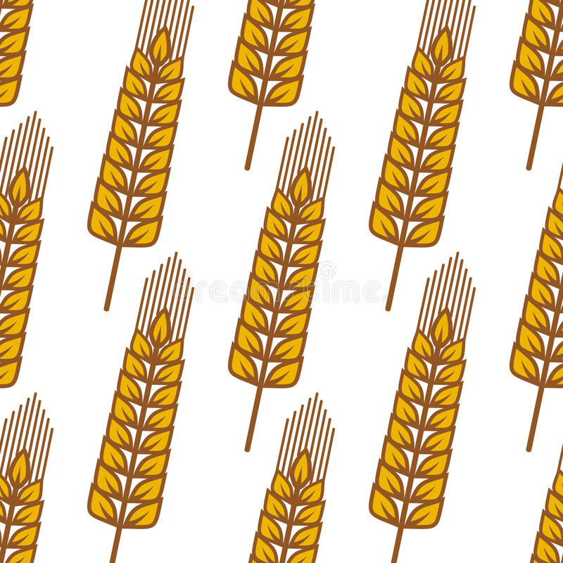 Cartoon ripe cereal ears seamless pattern. Golden wheat seamless pattern with repeated motif of ripe cereal ears on white background for bakery or pastry design royalty free illustration