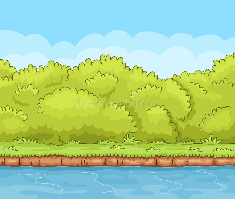 Cartoon river bank with bushes royalty free illustration