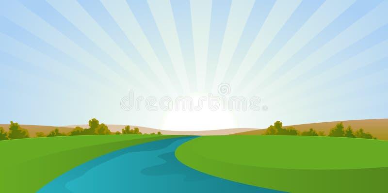 Cartoon River Landscape. Illustration of a seasonal river landscape in autumn season