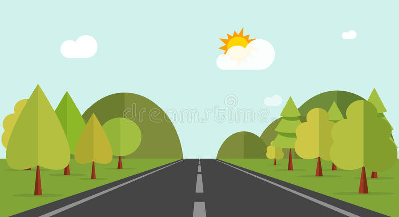 Cartoon road across green forest hills, mountains, nature landscape, highway vector illustration