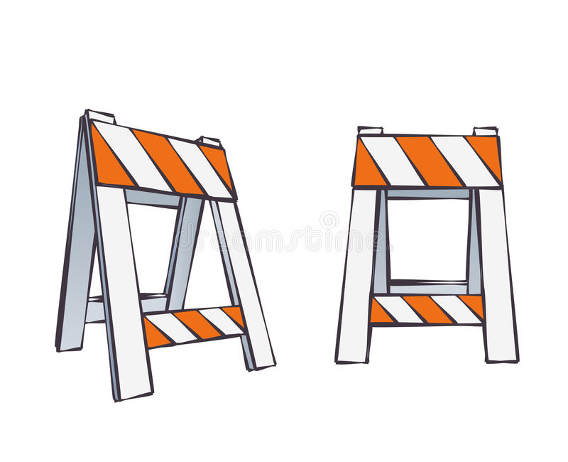 Cartoon road barriers stock vector illustration of block