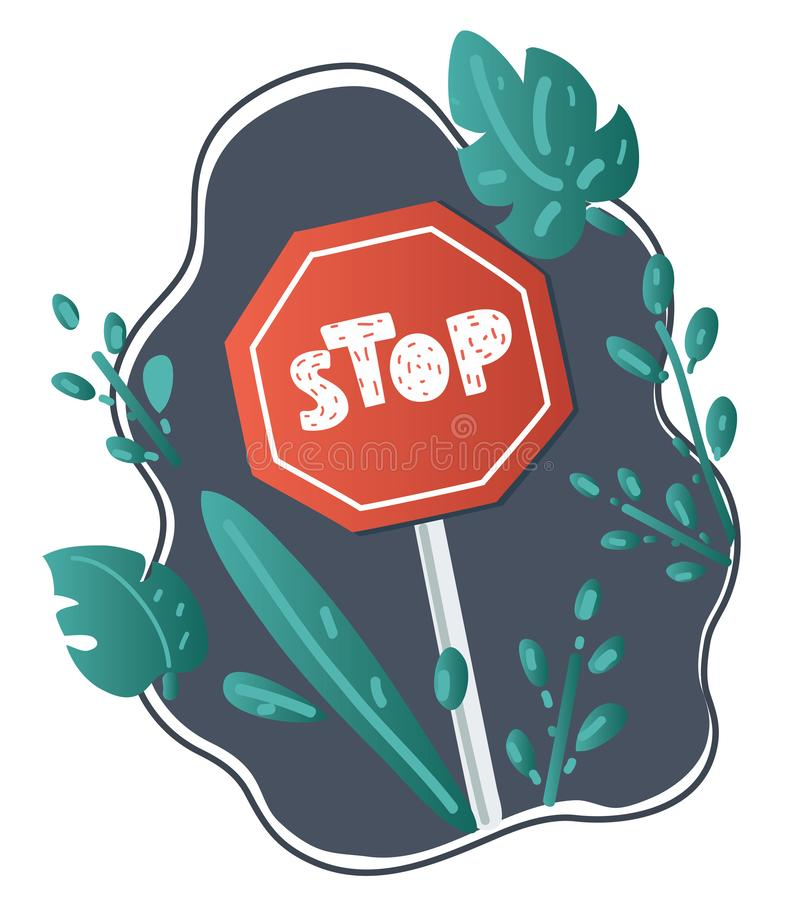 Cartoon Road sign stop. Vector cartoon illustration of Road sign stop. Plant decoration composition stock illustration