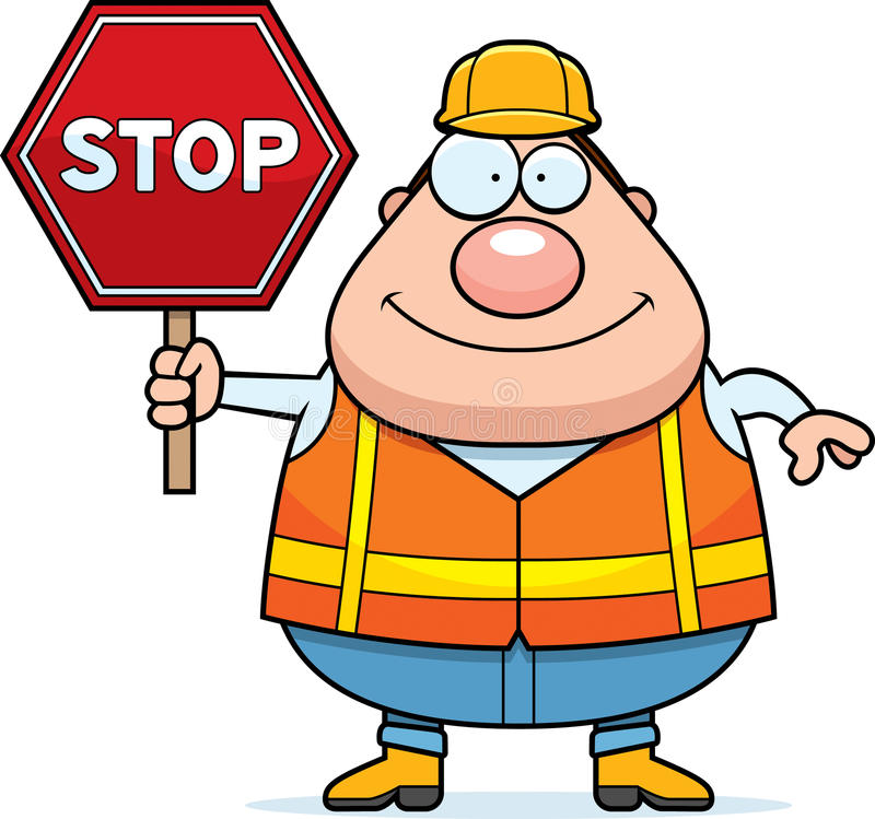 Cartoon Road Worker Stop Sign Stock Vector - Illustration ...