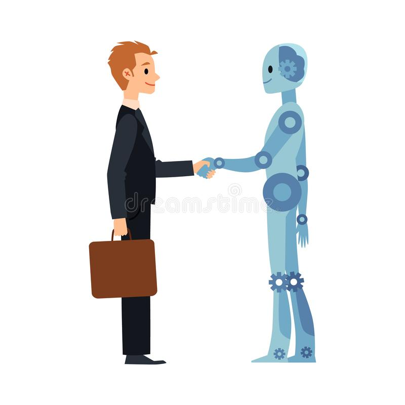 Cartoon robot and business man handshake - businessman and android shaking hands stock illustration