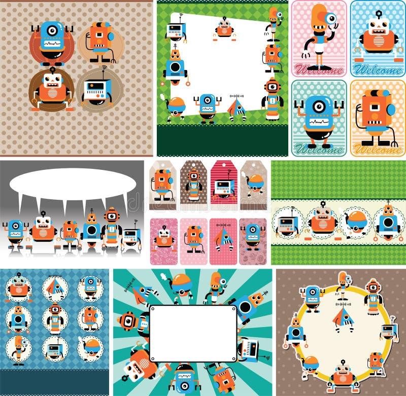 Cartoon robot card royalty free illustration