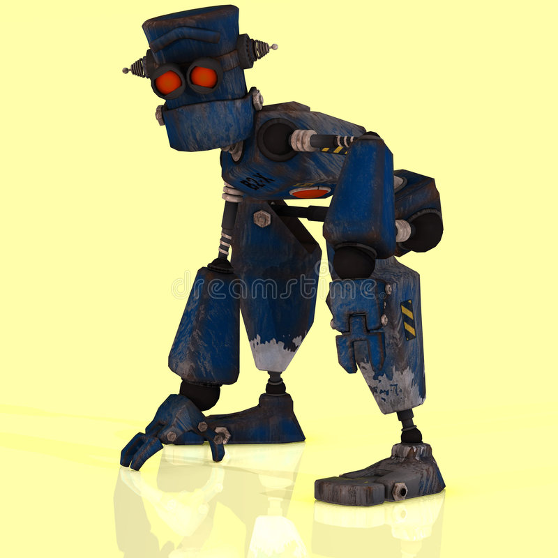 Cartoon Robot With Expressive Emotion In His Face Royalty Free Stock Photo