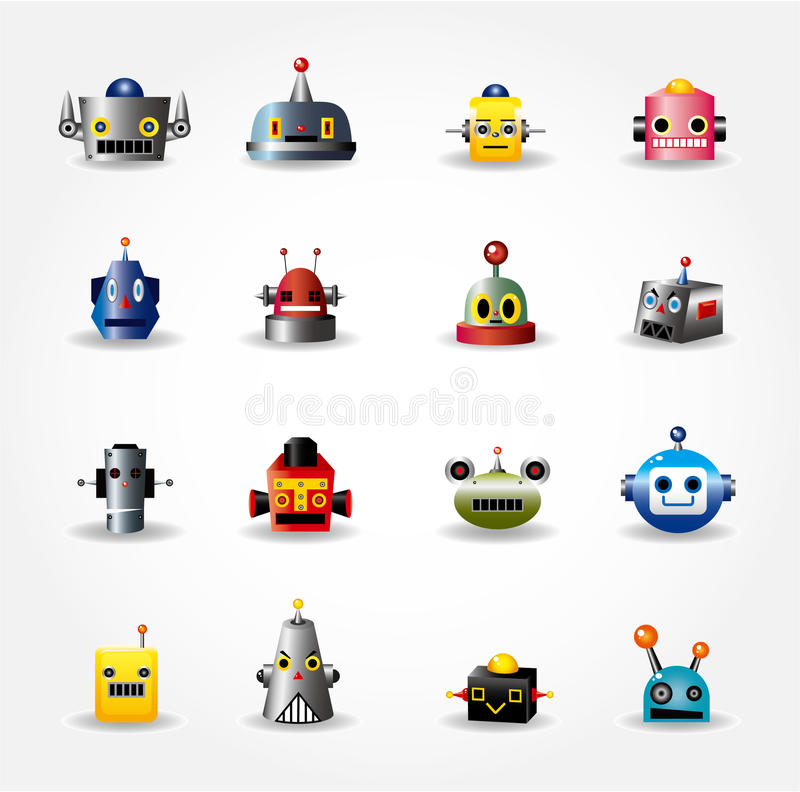 Download Cartoon Robot Face Icon , Web Icon Set - Stock Vector - Image: 19985096