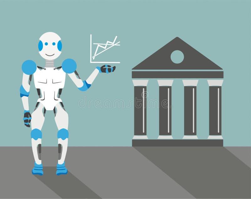 Cartoon Robot Graph Stock Exchange stock illustration