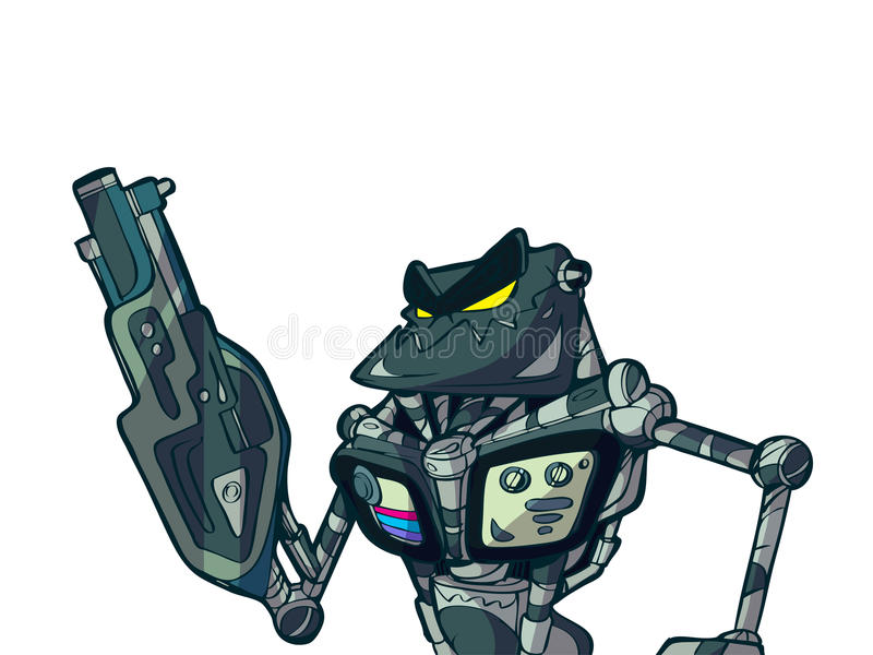 Cartoon Robot And Heavy Weapon Royalty Free Stock Image