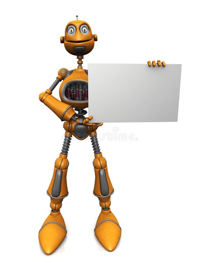 Download Cartoon Robot Holding Blank Sign. Stock Illustration - Image: 10099918