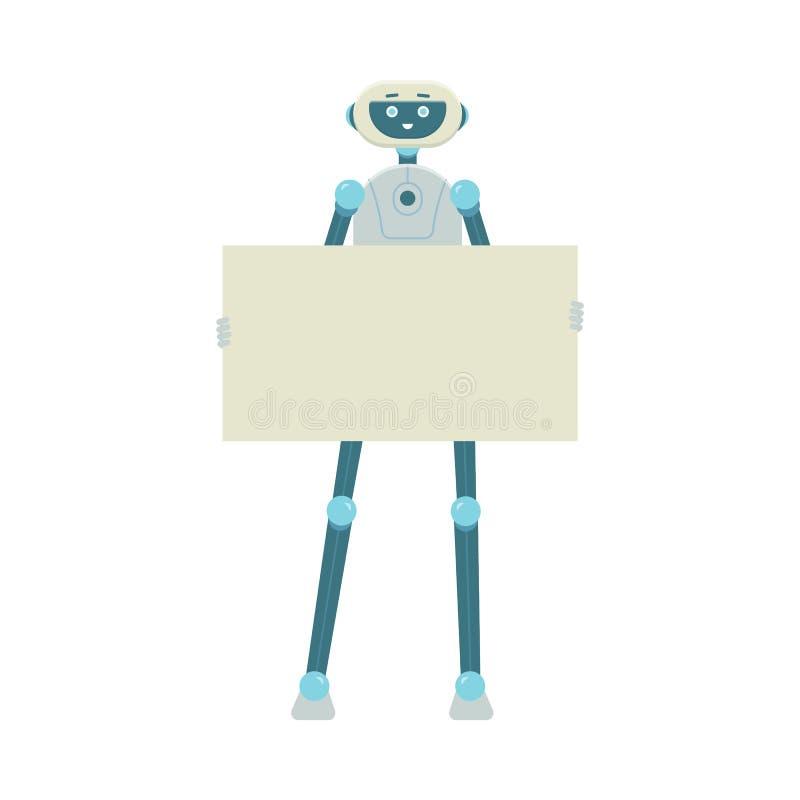 Robot de dessin animé tenant une pancarte blanche et souriant, isolé sur fond blanc