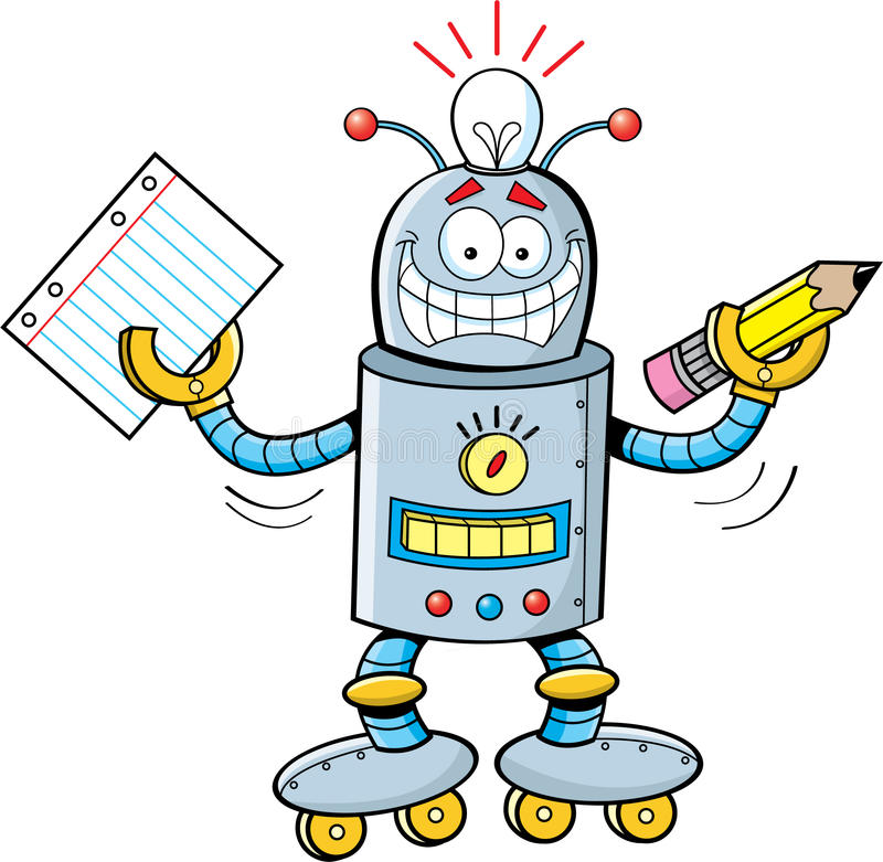 Cartoon robot holding a paper and a pencil royalty free illustration