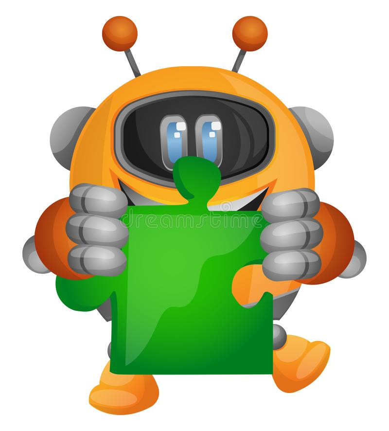 Cartoon robot holding a piece of the jigsaw puzzle illustration vector stock illustration