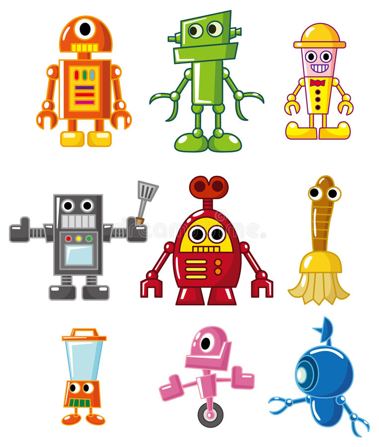 Cartoon robot icon vector illustration