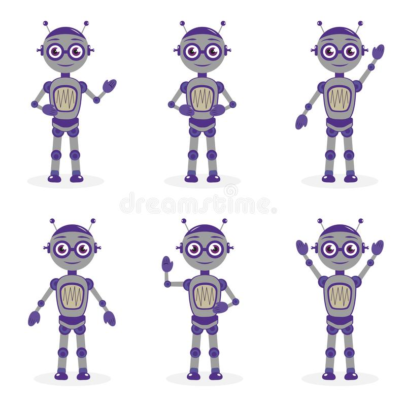 Cartoon robot mascot set of objects in flat style. Robots character collection. Isolated on white background. Vector vector illustration
