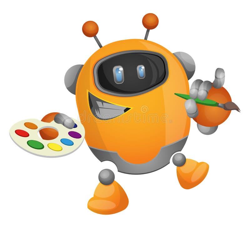 Cartoon robot painter illustration vector royalty free illustration