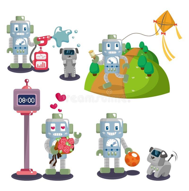 Cartoon robot set vector illustration