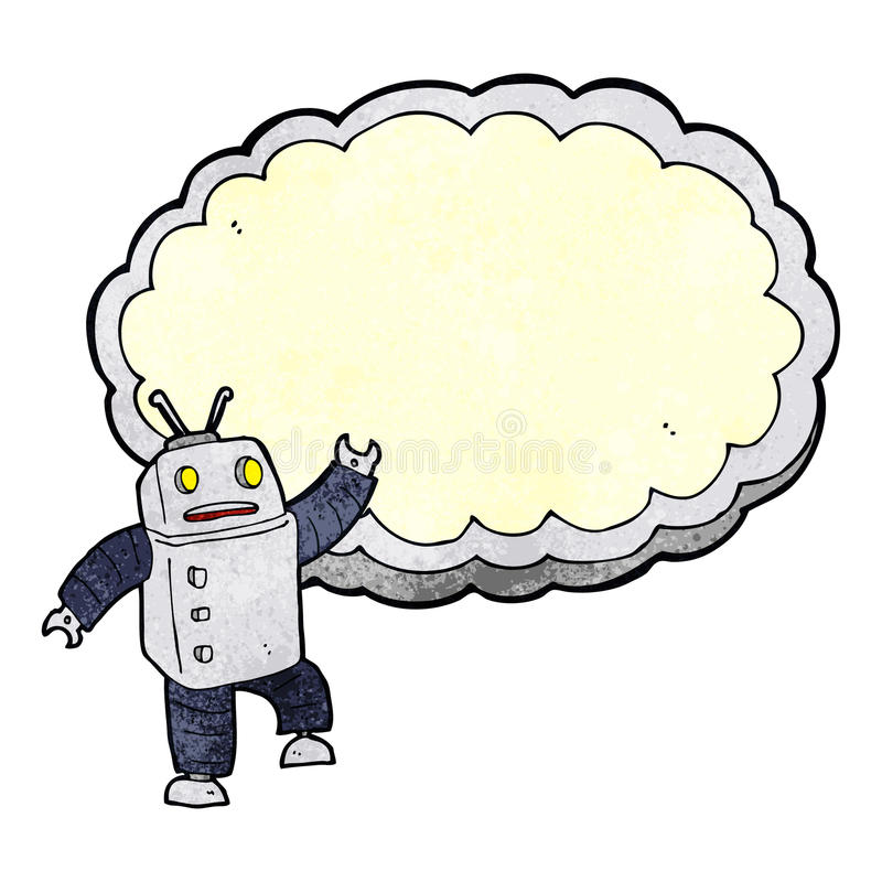 cartoon robot with space for text cloud royalty free illustration
