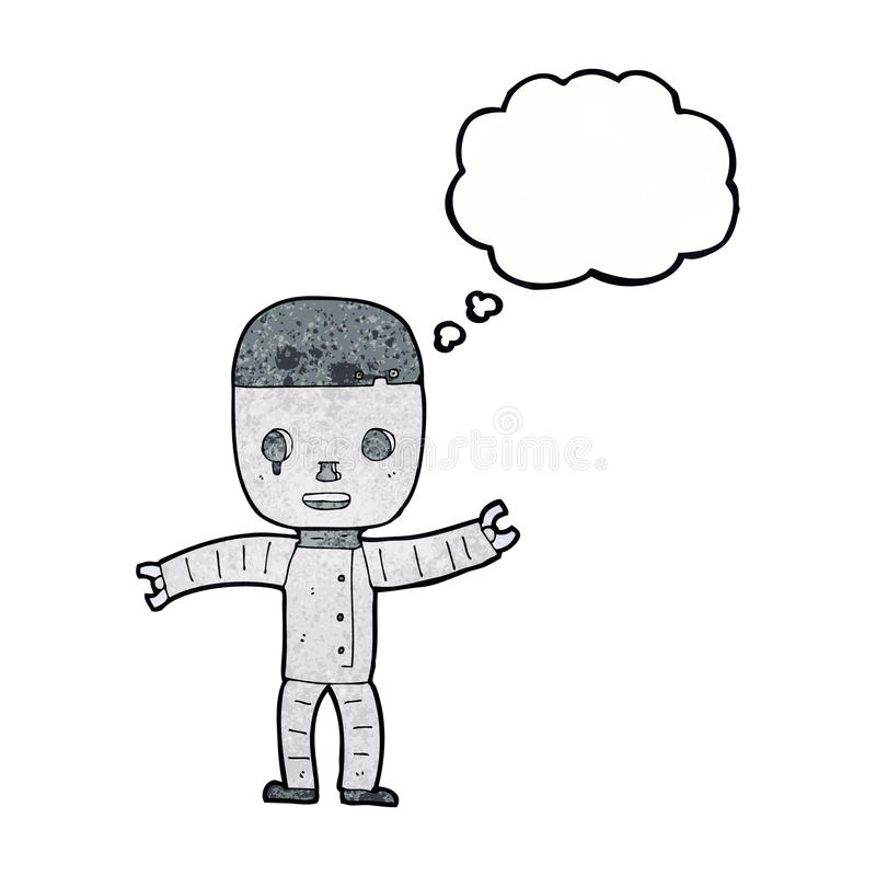 Cartoon robot with thought bubble stock illustration