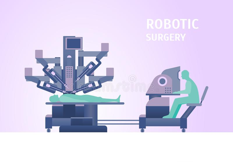 Cartoon Robotic Surgery Concept Card Poster. Vector. Cartoon Robotic Surgery Concept Card Poster Medical Robotic Technology for Operation Element Flat Design vector illustration