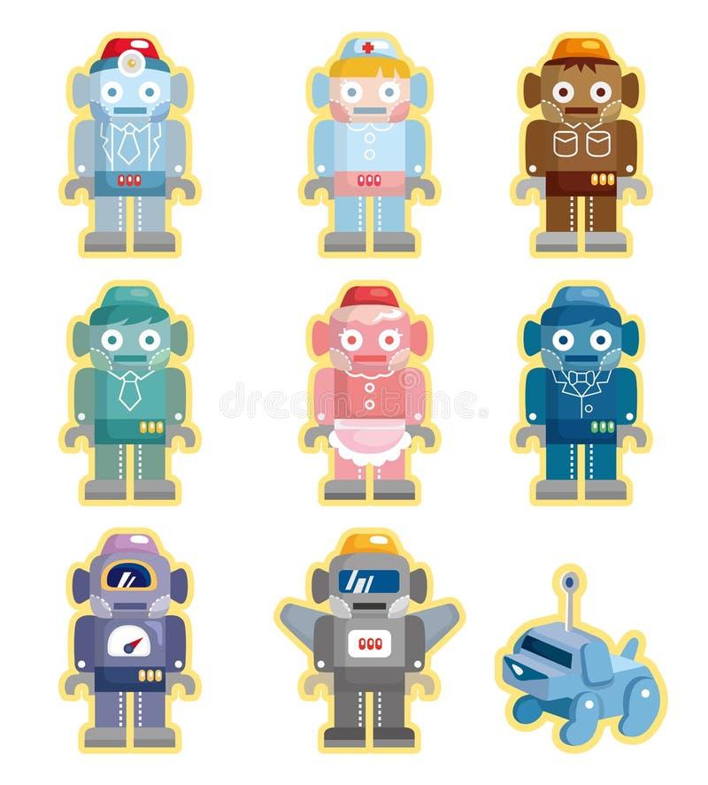 Cartoon robots icons set