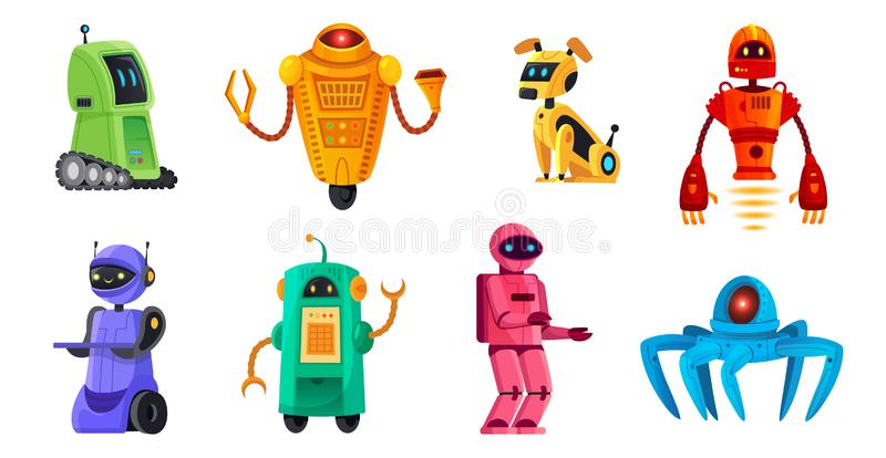 Cartoon robots. Robotics bots, robot pet and robotic android bot characters technology vector illustration set royalty free illustration