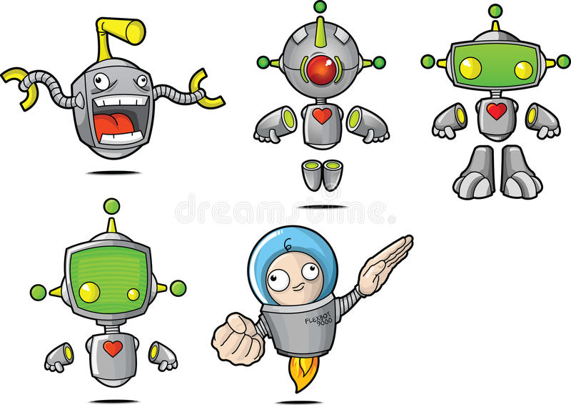 Cartoon Robots royalty free stock photos