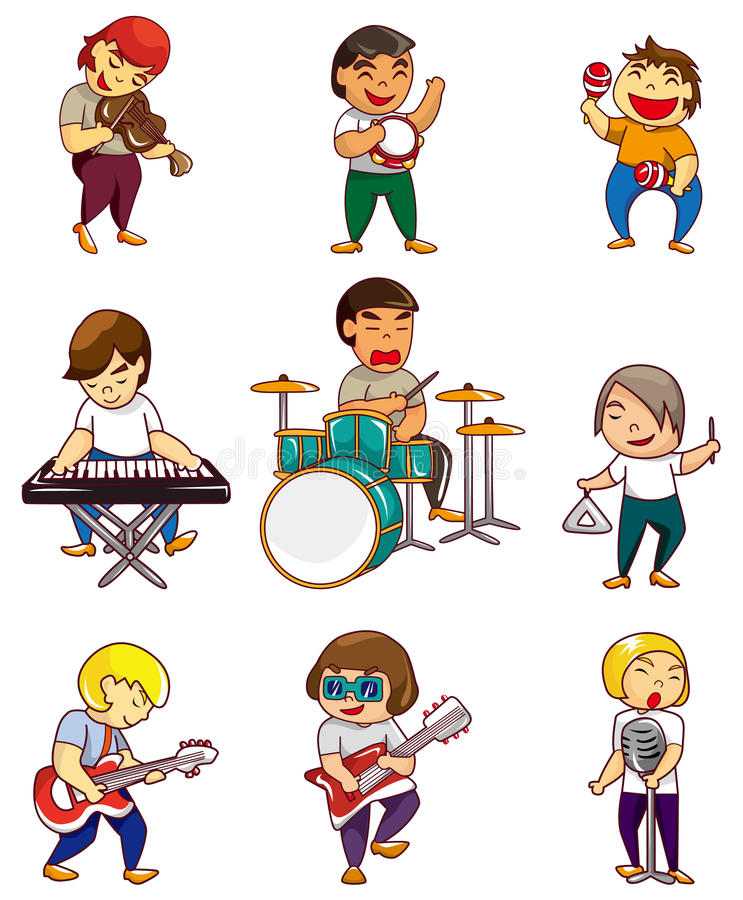 Download Cartoon rock band icon stock vector. Illustration of bass - 18248311