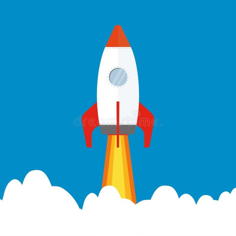 Cartoon rocket flying in sky royalty free illustration